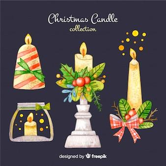 Colección velas navidad dibujadas a mano