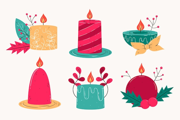 Colección de velas de navidad dibujadas a mano