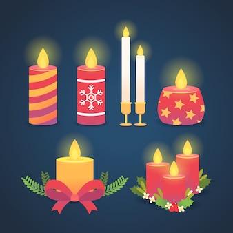 Colección de velas de navidad de diseño plano