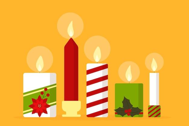 Colección de velas de navidad en diseño plano