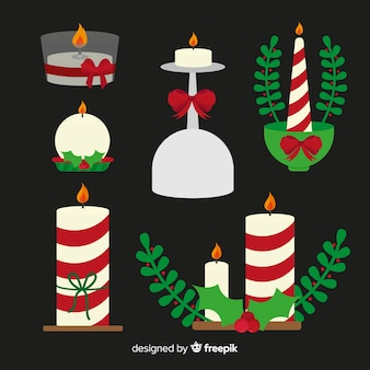 Colección velas de navidad a rayas