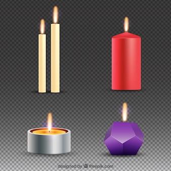 Colección de velas de navidad realistas