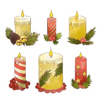 Colección de velas navideñas en acuarela
