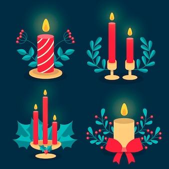Colección de velas navideñas en diseño plano