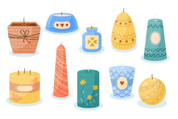 Colección de velas perfumadas dibujadas a mano