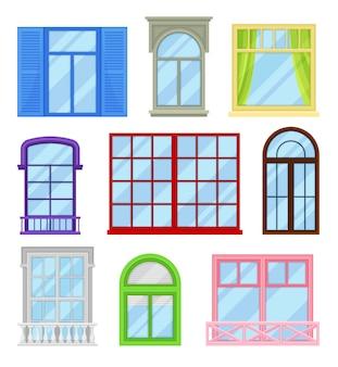 Colección de ventanas de dibujos animados sobre fondo blanco.