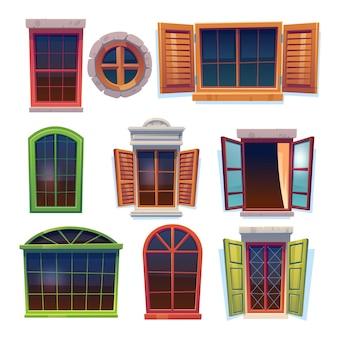 Colección de ventanas de madera rústicas de dibujos animados