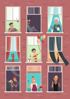Colección de ventanas con personas. edificio de apartamentos con gente en espacios abiertos de ventanas. pared exterior de casa con vecinos. concepto de vida humana. bloques de concepto de amistad de casa plana.
