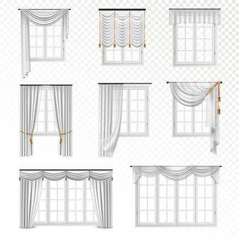 Colección de ventanas realistas con cortinas en estilo clásico, ocho imágenes planas aisladas sobre fondo transparente
