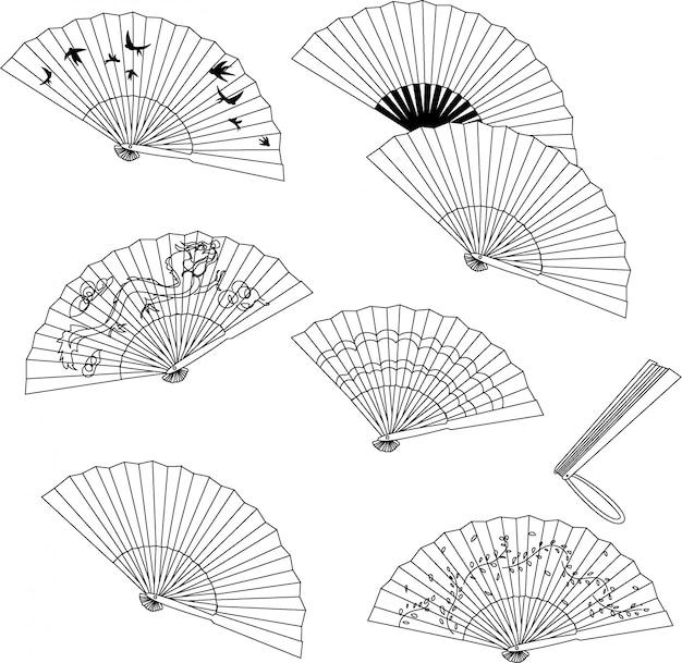 Colección de ventilador de mano aislada sobre un fondo blanco.