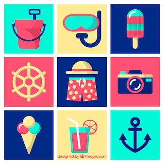Colección de verano con elementos en estilo plano