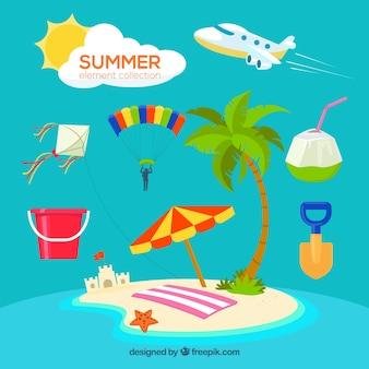 Colección de verano con elementos de playa