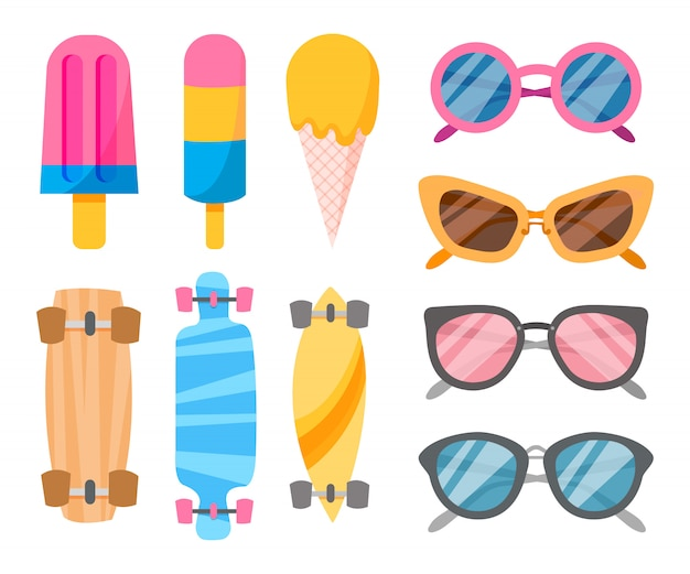 Colección de verano de objetos.