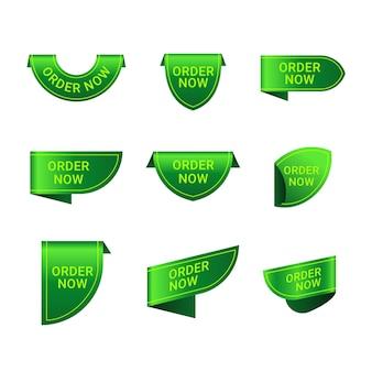 Colección verde de orden ahora etiqueta