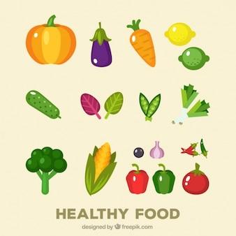 Colección de verduras coloridas en diseño plano
