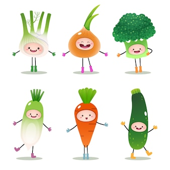 Colección de verduras de dibujos animados aislado en blanco