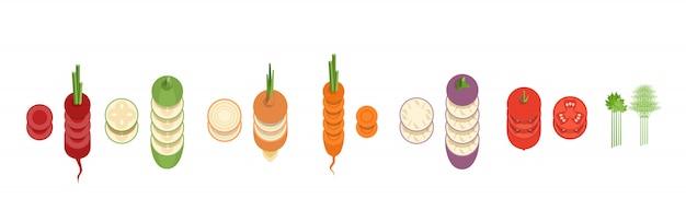 Colección de verduras en rodajas vector