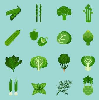 Colección de verduras verdes, información gráfica de alimentos, ilustración vectorial.