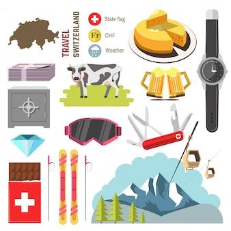 Colección de viajes de suiza. ilustracion vectorial