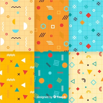 Colección vibrante de patrones de memphis