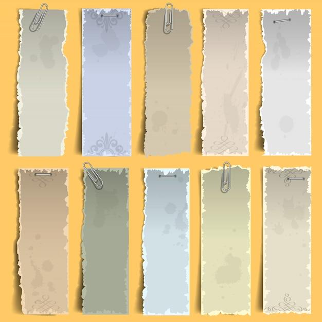 Colección de viejos papeles verticales