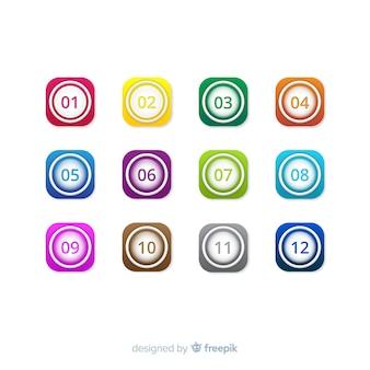 Colección de viñetas coloridas en 3d
