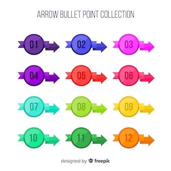 Colección de viñetas de flecha en diseño plano