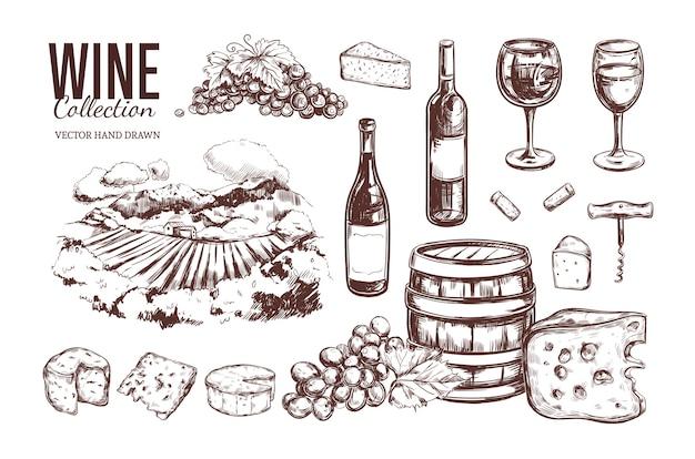 Colección de vino vintage dibujado a mano.