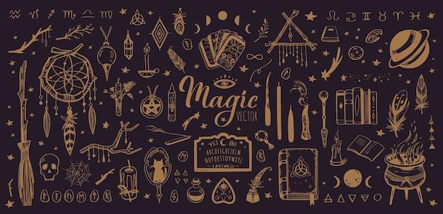 Colección vintage de brujería y magia con ilustración oculta aislada