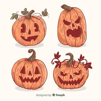 Colección vintage de calabaza de halloween