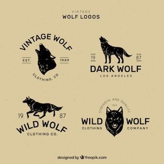 Colección vintage clásica de logos de lobo