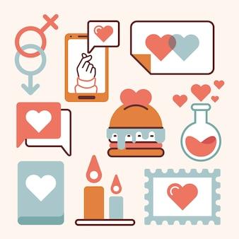 Colección vintage de elementos del día de san valentín