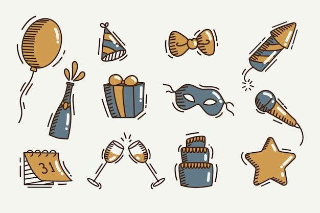 Colección vintage de elementos de fiesta de año nuevo
