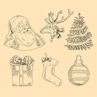 Colección vintage de elementos navideños