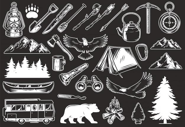 Colección vintage de elementos de recreación al aire libre