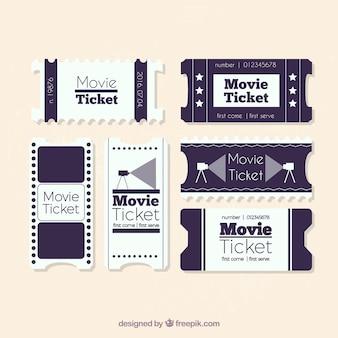 Colección vintage de entradas de cine en blanco y negro