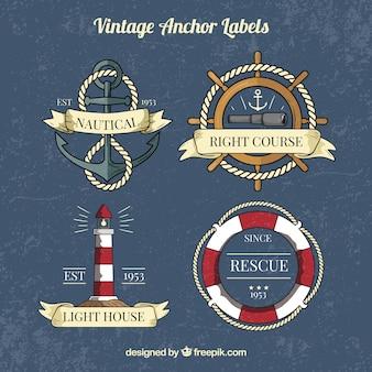 Colección vintage de etiquetas de anclas
