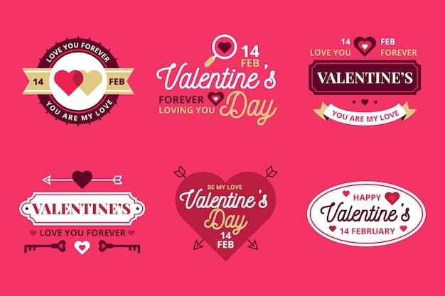 Colección vintage de etiquetas para el día de san valentín