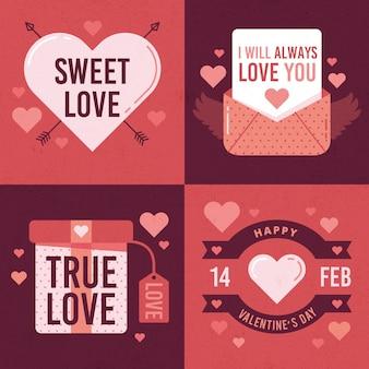 Colección vintage de etiquetas del día de san valentín
