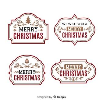 Colección vintage de etiquetas de navidad