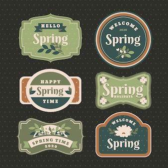 Colección vintage de etiquetas de primavera