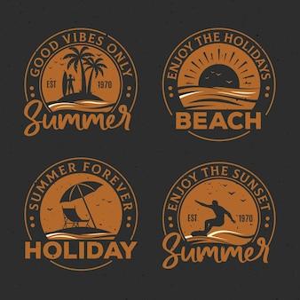 Colección vintage de etiquetas de verano