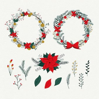 Colección vintage de flores navideñas