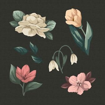 Colección vintage de flores de primavera