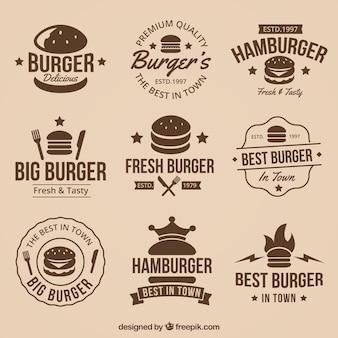 Colección vintage de geniales logos de hamburguesas
