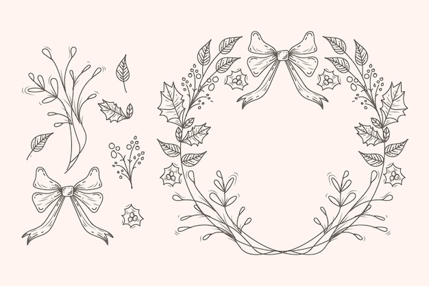 Colección vintage de guirnaldas y flores navideñas