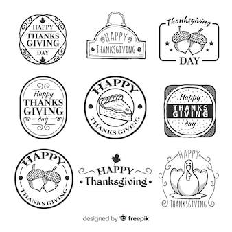 Colección vintage de insignias de acción de gracias