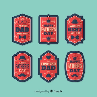 Colección vintage de insignias del día del padre