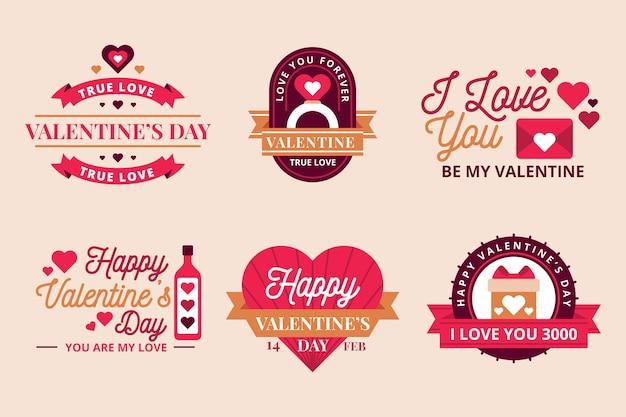 Colección vintage de insignias del día de san valentín