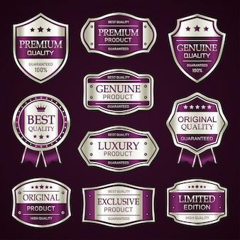Colección vintage de insignias y etiquetas premium púrpura y plata
